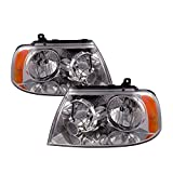 PERDE Replacement for Lincoln Navigator With Performance Lens Chrome Headlamps Headlights Pair Driver Passenger Set