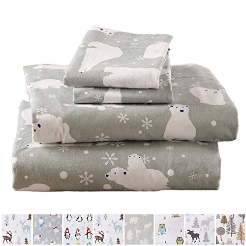 (Home Fashion Designs Stratton Collection Extra Soft Printed 100% Turkish Cotton Flannel Sheet Set. Warm, Cozy, Lightweight, Luxury Winter Bed Sheets Brand. (Full, Grey Polar Bears))