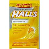 HALLS Sugar-Free Cough Drops, Honey Lemon, 180 Count - Pack of 5