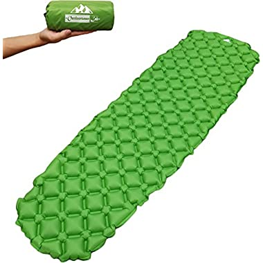 OutdoorsmanLab Ultralight Sleeping Pad - Ultra-Compact for Backpacking, Camping, Travel w/ Super Comfortable Air-Support Cells Design (Green)