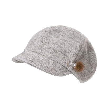 Boinas Sombrero De Piel De Color Sólido Mujeres Sombrero De Calabaza De  Primavera Y Otoño Invierno f0acfa25537