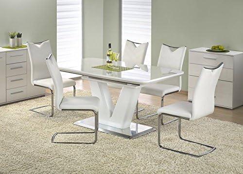 Comedor blanco brillante blanco extensible Modern comedor mesa ...