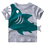 Tecrok Little Boys Short Sleeve Shark Tee Cotton Toddler Kids Casual T-Shirt For Age 2-8 Years, Gray, 3