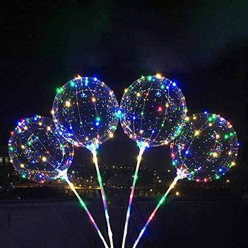 Ball 18' Mylar Balloon (Birthday Party Balloons,LED Bobo with Hand-hold Balloons 5Pack 10Ft Colorful Copper Lights, 18Inch Transparent Balloon Can Inflated Air Helium Hydrogen,Wave Ball Gift for Children Kids Lover)