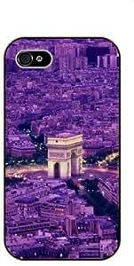 """iPhone 6 (4.7"""") Arc de Triomp, purple city view - black plastic case / Paris, France by SHURELOCK TM"""