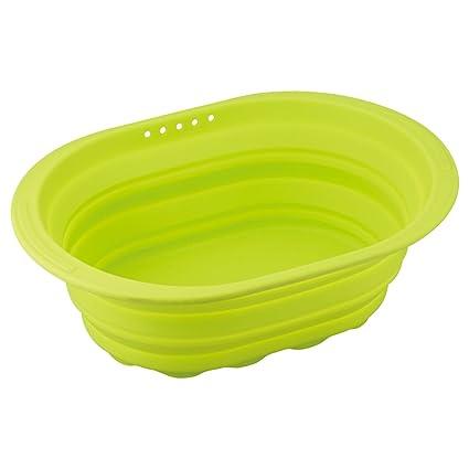 和平フレイズ 小判型洗い桶 スキッとシリコーン グリーン SR-4882