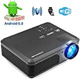 Caiwei HD LCD Wireless Bluetooth Video Projector,3200 Lumen Android 6.0 OS 1280x800 Resolution Support APPs Netflix Sling TV Airply Mirror Keystone HDMI USB Multimedia Home Theater Projectors Outdoor