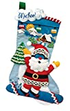 18'' Long Stocking Felt Applique Kit: Snowboarding Santa