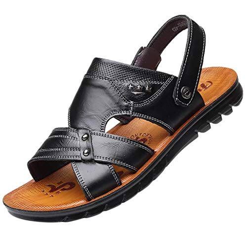 Mens Sandals | Flip Flops for Men Summer Sandals Casual Beach Shoes Non-Slip Slippers (US:9, Black) from Pafei Men's Sandals