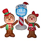 Airblown Inflatable Outdoor Christmas Characters, 3 Piece Set, Gingerbread Man, Gingerbread Girl, and Baby It's Cold Outside