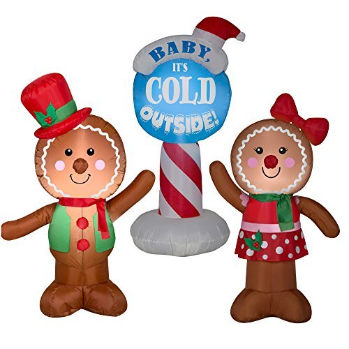 Airblown Inflatable Outdoor Christmas Characters, 3 Piece Set, Gingerbread Man, Gingerbread Girl, and Baby It's Cold Outside by HolidayTime