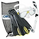 Cressi Palau Mask Fin Snorkel Set with Snorkeling Gear Bag, Yellow, M/L | (Men's 7-10) (Women's 8-11)