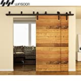 WINSOON Metal Sliding Bypass Barn Wood Door Hardware Kit System Bending Design Wall Mount Bracket Fit Double Wooden Doors New Style (12FT)