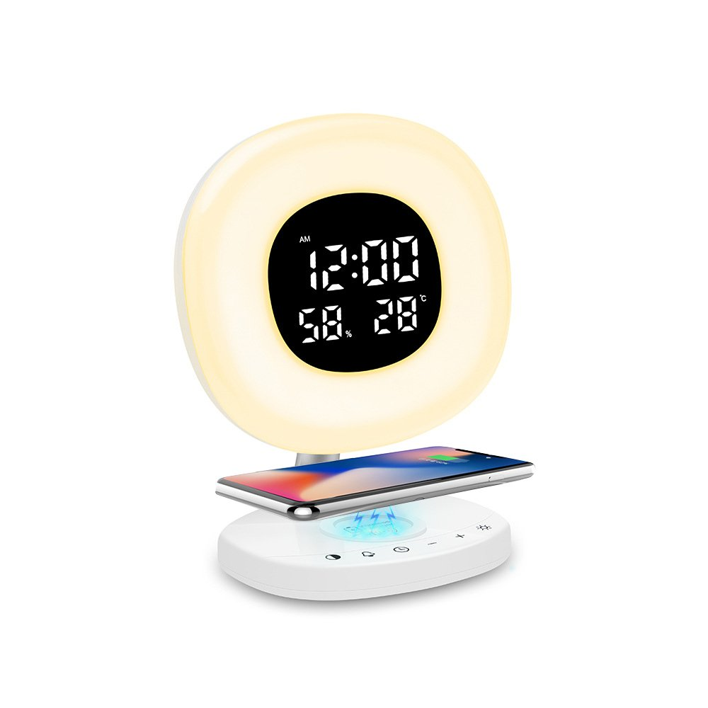 Alarm Clock with Qi Wireless Charging, Wake UP Light Sunrise Digital Alarm Clock LED 7 Colorful, Table Lamp Bedroom Bedside Lamp Home Decoration, Snooze, Multifunction Touch Control for Bedroom Kids USB Charge GUOLIAN