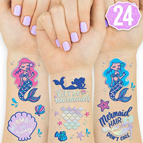 (xo, Fetti Mermaid Party Supplies Temporary Tattoos for Kids - 24 Glitter Styles | Mermaid Birthday Party Favors, Mermaid Tail Decorations + Halloween)