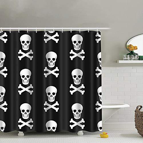 (best bags Halloween Skull Bones Backdrop Holidays Uphome Fabric Shower Curtain,Bathroom Cloth Shower Curtain Set with Hooks, Heavy Duty Waterproof, 66X72)