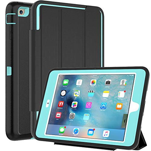 SEYMAC iPad Mini Case iPad Mini 2 Case iPad Mini 3 Case, 3 Layer Heavy Duty Auto Sleep Wake Cover Drop Proof Rugged Full Body Protective Case Compatible with iPad - Ipad Fiber Carbon Mini Case