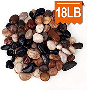 [18 Pounds] Aquarium Gravel River Rock, Natural Polished Decorative Gravel,Garden Outdoor Ornamental River Pebbles Rocks, Polished Gravel, Mixed Color Stones,for Landscaping, Vase Fillers (20)