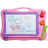 ikidsislands IKS77P [Travel Size] Color Magnetic Drawing Board for Kids & Toddlers - Non Toxic Mini Magna Sketch Doodle Educational Toy for Girls, with 1 Pen & 2 Stamps (Pink)
