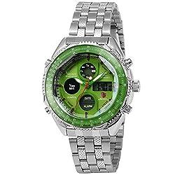 Eightgill Shark Sport Men's Digital LCD Date Day Alarm Green Dial Quartz Army Wrist Watch SH112