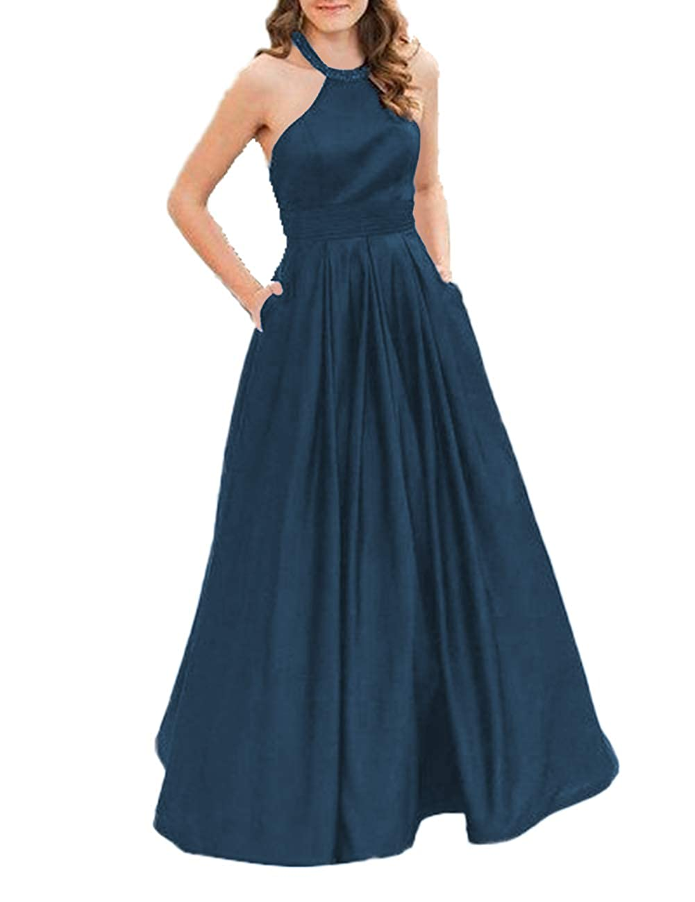 Jade JAEDEN Prom Dress Long Evening Dresses for Women Formal Evening Gowns Halter Prom Dress 2019