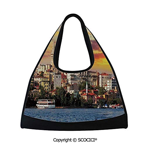 Fitness bag,Istanbul at Sunset with the Sea Capital of Byzantine Old Roman Ancient Tower Print,Sports and Fitness Essentials(18.5x6.7x20 in) Multi ()