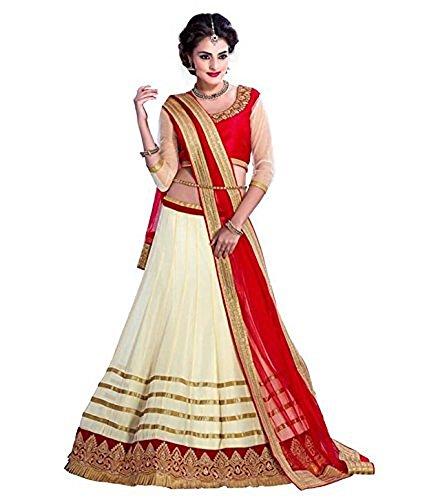 Radheshyam Enterprise Women's Georgette Lehenga Choli, Free Size, Off-White