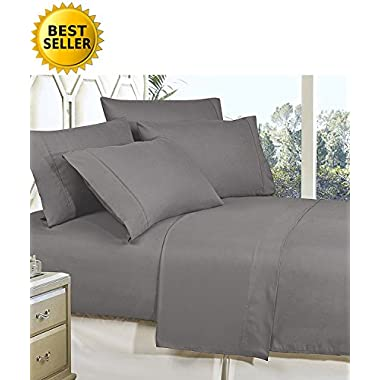 Celine Linen Best, Softest, Coziest Bed Sheets Ever! 1800 Thread Count Egyptian Quality Wrinkle-Resistant 4-Piece Sheet Set with Deep Pockets, California King, Grey
