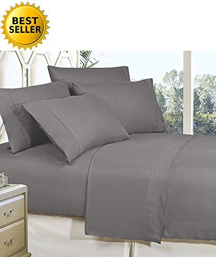 Celine Linen Best, Softest, Coziest Bed Sheets Ever! 1800 Thread Count Egyptian Quality Wrinkle-Resistant 4-Piece Sheet Set with Deep Pockets 100% Hypoallergenic, Queen Grey