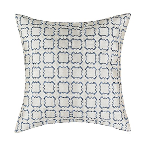 Euphoria CaliTime Cushion Cover Throw Pillow Case Shell 18 X 18 Inches, Beige Ground Blue Squares Checks Chain Embroidered