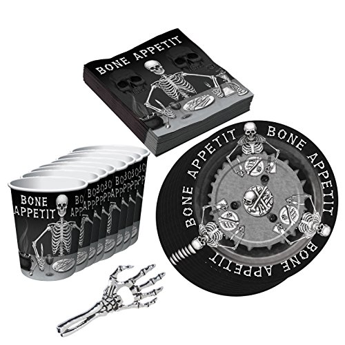 Skeleton Hand Beer Opener, Plates, Party Cups, Beverage Napkins Adult Halloween Party Supplies 33 pieces