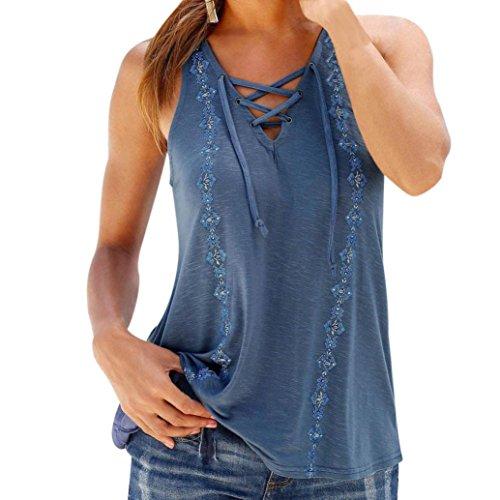 WILLTOO Clearance Women Summer Print V-Neck Tops Blouse T-Shirt (M, Blue)