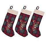 BambooMN 3 Pcs Set 18'' Classic Hand Embroidered Sequined Cute Animal Chirstmas Stocking, 01a Reindeer