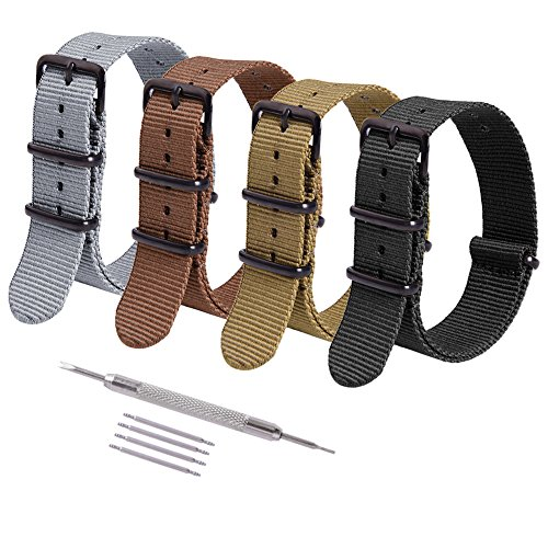 Ritche 4PC 20mm Nato Strap Nylon Watch Band Replacement Watch Straps for Men Women - Gray Nylon Strap