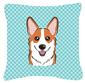 "Caroline's Treasures BB1192PW1818 Checkerboard Blue Corgi Canvas Decorative Pillow, 18"" x 18"", Multicolor"