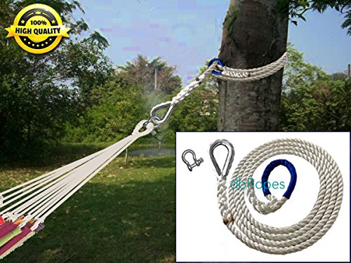 Thimble Wood (Hammock Hanging Kit Safer 3 Strand Nylon Rope with Thimble, Shackle and Chafe Guard. Tensile Strength 6700 pounds - Pack of 1)