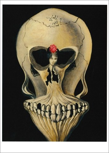 """3 Tarjeta de paquete: de Salvador Dalí Calavera con bailarina """""""