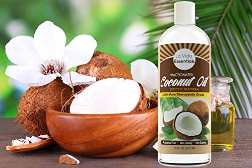 Fractionated Coconut Oil - with Pump - (Liquid) 16 Oz ★ 100% Pure Therapeutic Grade ★ Carrier Oil for Essential Oils, Aromatherapy, Massage ★ Fragrance Free, Non-Greasy, Non-Staining, Hexane-Free ★ Soothing Skin & Hair Moisturizer ★ Recipe E-Book ★ 100% Money Back Guarantee