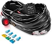MICTUNING LED Light Bar Wiring Harnes On-Off Waterproof Switch (12 Gauge Wiring Harness Kit)