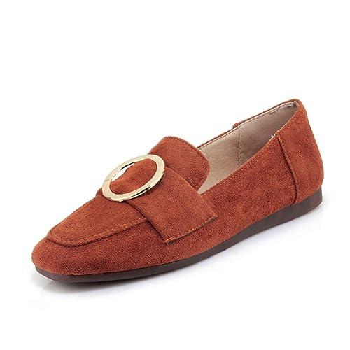 Zapatos De Mujer Hechos A Mano Casuales ResbalóN En Punta Cuadrada DecoracióN De Metal SeñOras Pisos Mocasines: Amazon.es: Zapatos y complementos