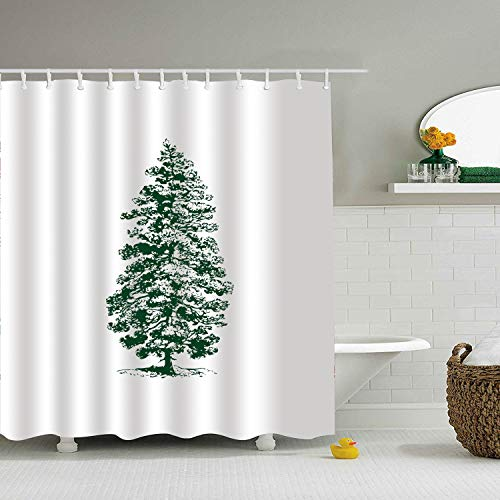Room Decorations Collection, Fir Tree Conifer Evergreen, Polyester Fabric Bathroom Shower Curtain