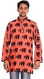 Indian 100% Cotton 10 Pcs Lot Elephant Print Plus Size Men's Shirt Kurta loose fit Orange Color