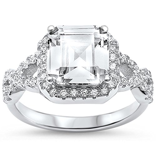 Sterling Silver Asher Cut Square CZ Twisted Infinty Engagement Ring Sizes 5 - Step Cut Cz Ring