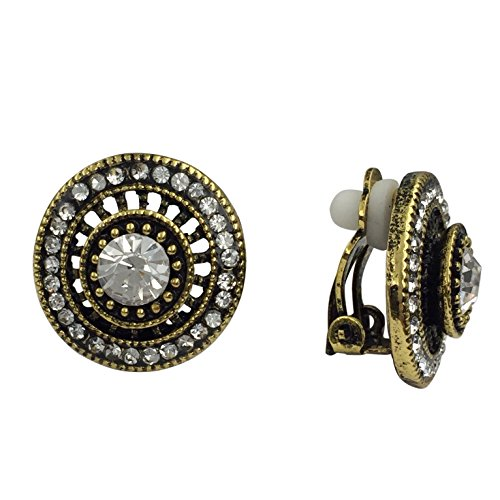 Vintage Look Rhinestone Clip On Earrings - Assorted Styles (Gold Tone Round)