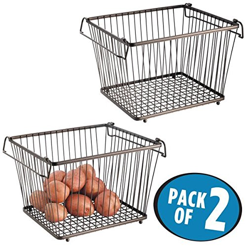 mDesign Stackable Wire Storage Basket for Kitchen, Pantry, Cabinet - Pack of 2, 12