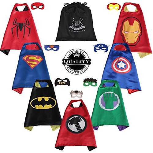 SpiderMarket 7 children party cape and masks coustumes (Tony Stark Halloween Costume)