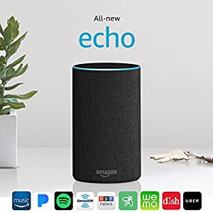 Echo (2nd Generation) with improved sound, powered by Dolby, and a new design – Charcoal Fabric
