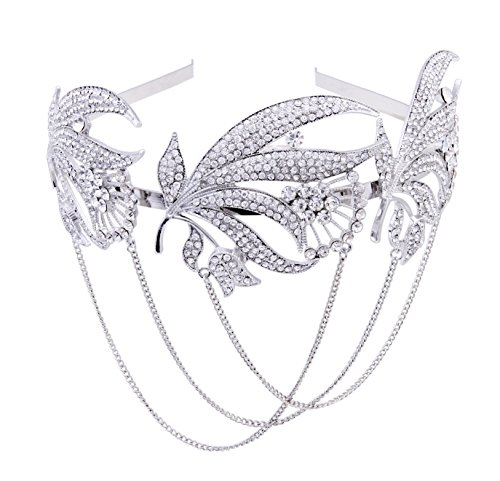 Price comparison product image BABEYOND The Great Gatsby Inspired Bridal Art Deco Hair Comb Clear Austrian Crystal Silver