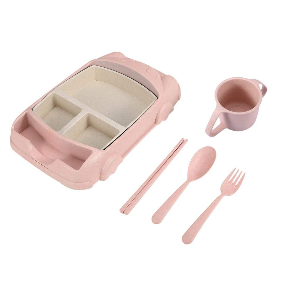 Platos divididos para alimentar el coche de dibujos animados palillos vajilla 01 juego de cuencos cuchara tenedor