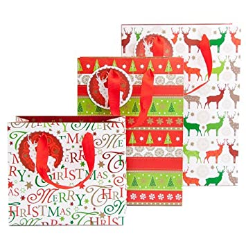 3er Set Christmas Bags Deer Arte Bene Amazon Co Uk